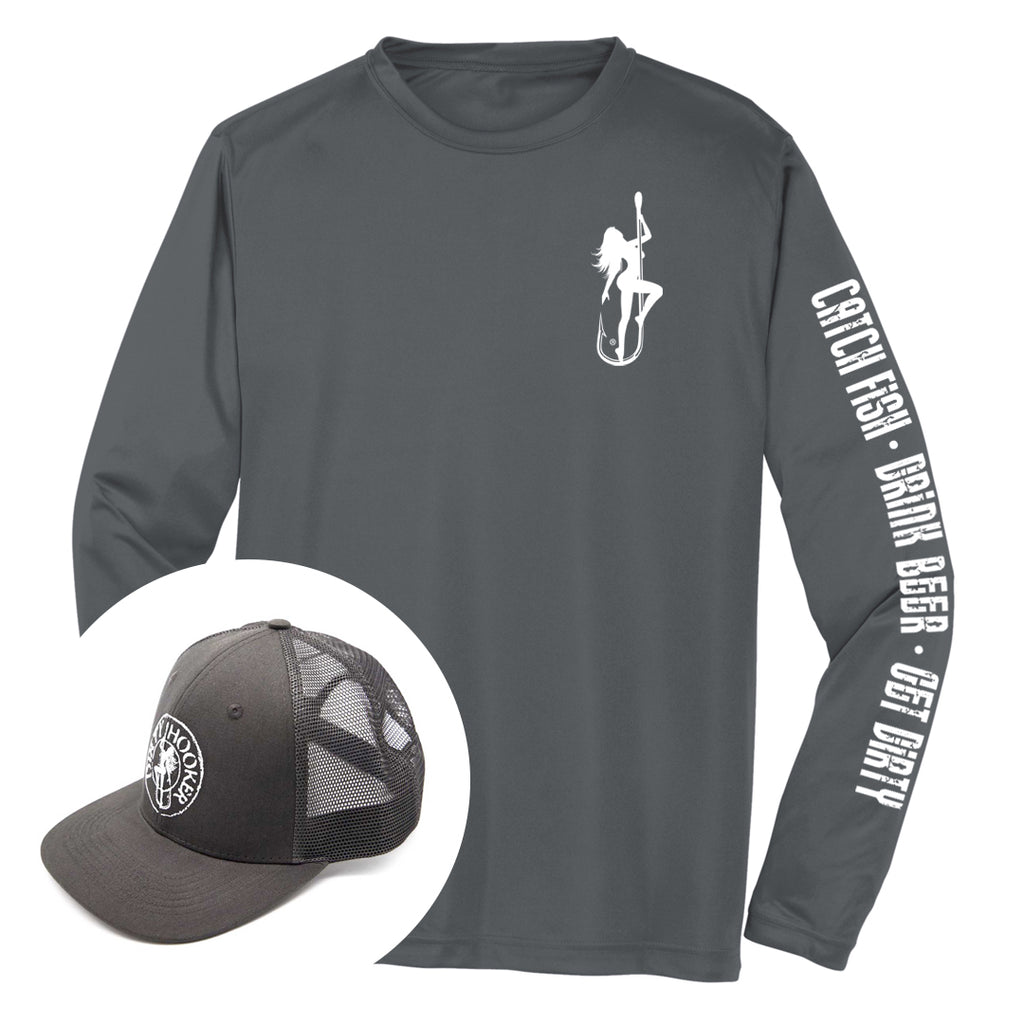 Dirty Hooker COMBO: Charcoal Dry Fit with DH Classic White & Premium Charcoal Hat