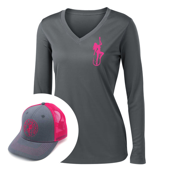 Dirty Hooker COMBO: Charcoal Ladies Dry Fit with Classic Pink & Charcoal and Pink Hat