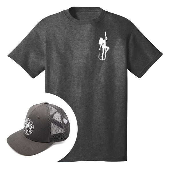 Dirty Hooker COMBO: Dark Grey T-Shirt with DH Classic White & Premium Charcoal Hat