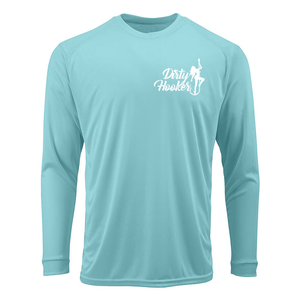 Dirty Hooker Vintage White on Aqua Premium UPF Dry Fit
