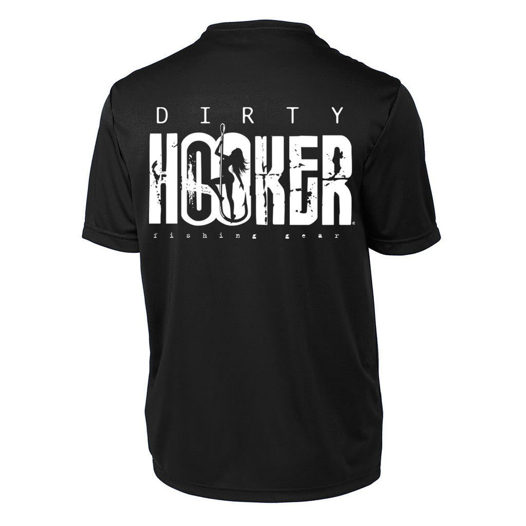 Dirty Hooker Classic White on Black Short Sleeve Dry Fit