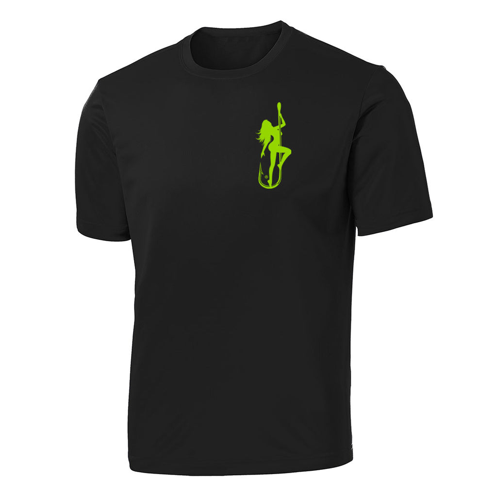 Dirty Hooker Classic Green on Black Short Sleeve Dry Fit