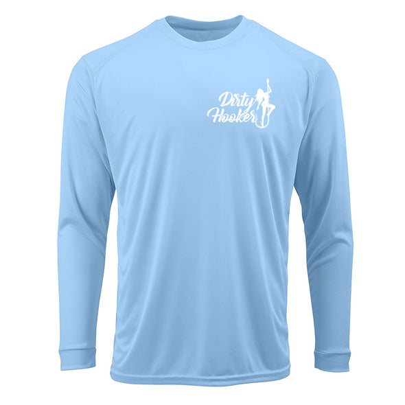 Dirty Hooker Vintage White on Blue Mist Premium UPF Dry Fit