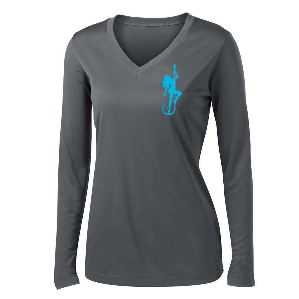 Dirty Hooker Classic Light Blue Ladies V-neck Dry Fit