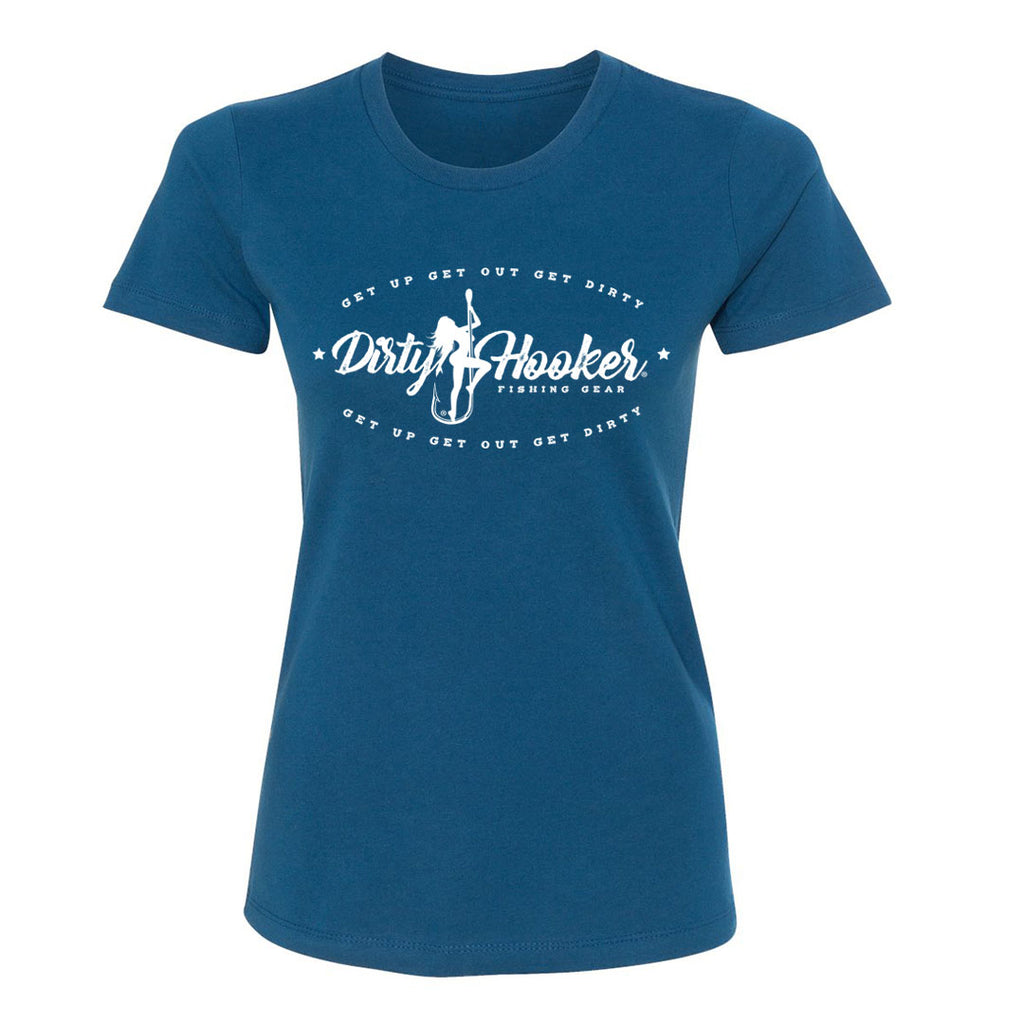 Dirty Hooker Vintage on Ladies Cool Blue T-Shirt