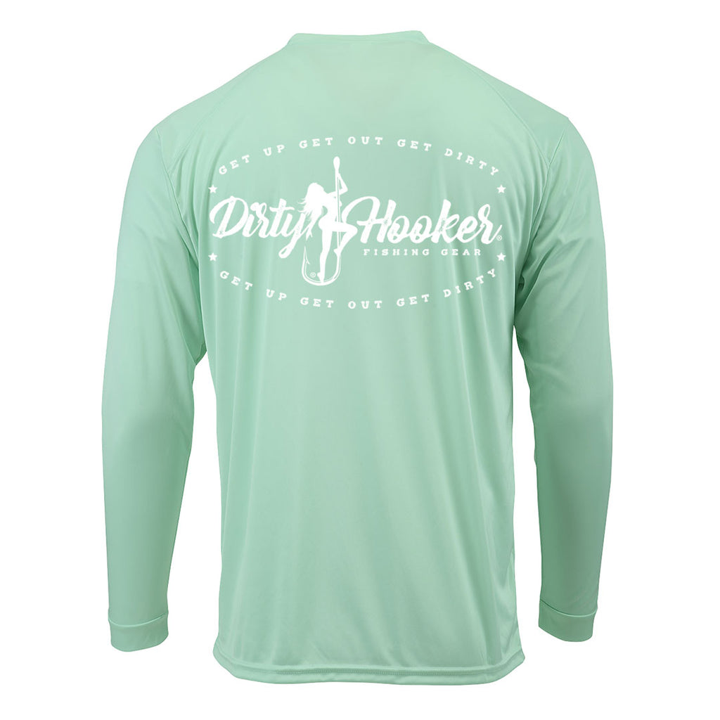 Dirty Hooker Vintage White on Mint Premium UPF Dry Fit