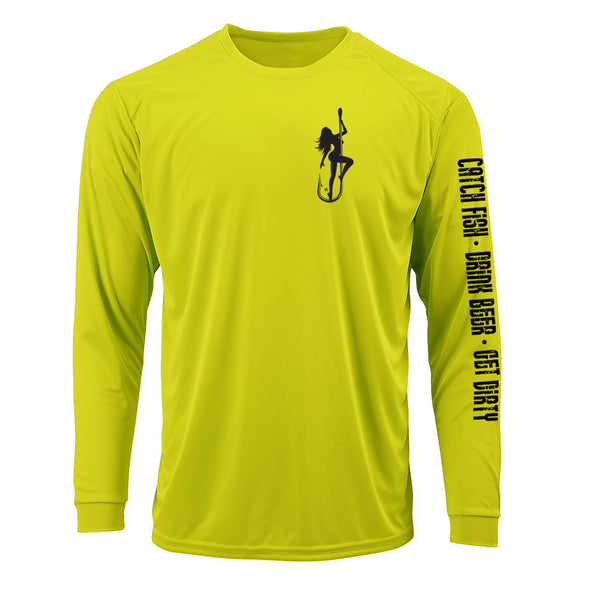 Dirty Hooker Classic Black on Neon Yellow Premium UPF Dry Fit