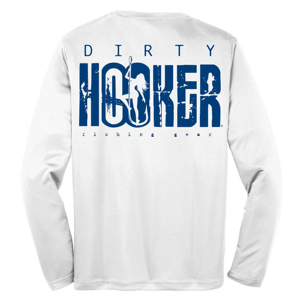 Dirty Hooker Classic Navy Blue on White Dry Fit