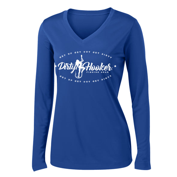 Dirty Hooker Vintage on Ladies Royal Blue V-neck Dry Fit