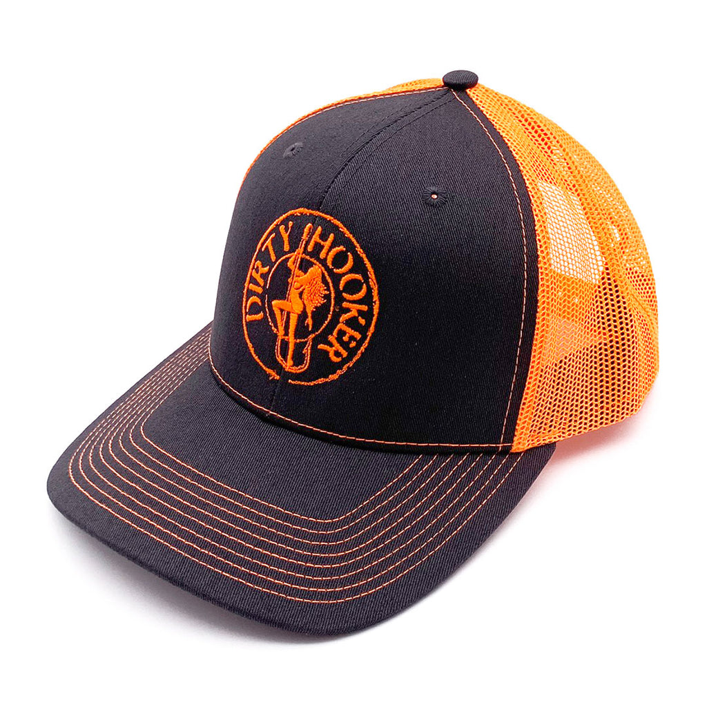 Dirty Hooker COMBO: White Dry Fit with DH Classic Orange & Deluxe Charcoal and Orange Hat