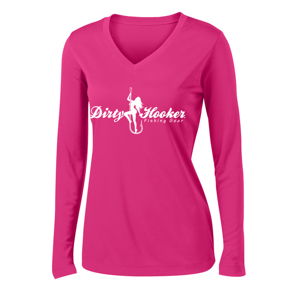 Dirty Hooker Script 1 Ladies V-neck Dry Fit