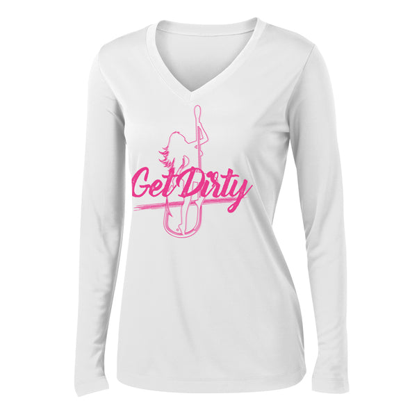 Dirty Hooker Get Dirty Pink Ladies V-neck Dry Fit