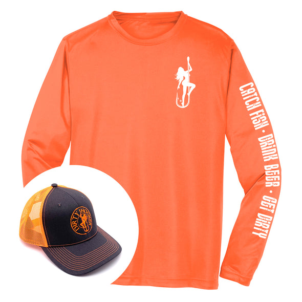 Dirty Hooker COMBO: Classic White Dry Fit & Deluxe Orange Hat