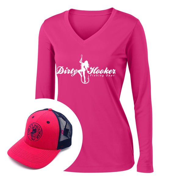 Dirty Hooker COMBO: Raspberry Ladies Dry Fit with DH Script 1 & Deluxe Raspberry and Navy  Hat