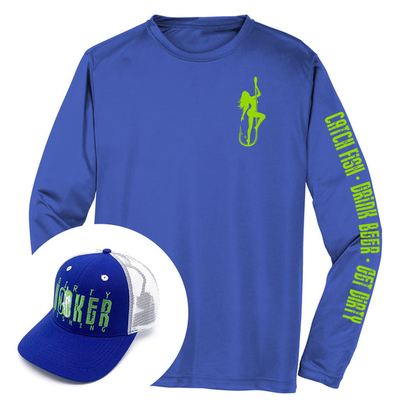 Dirty Hooker COMBO: Blue Dry Fit with DH Classic Green & Royal and White Deluxe Hat