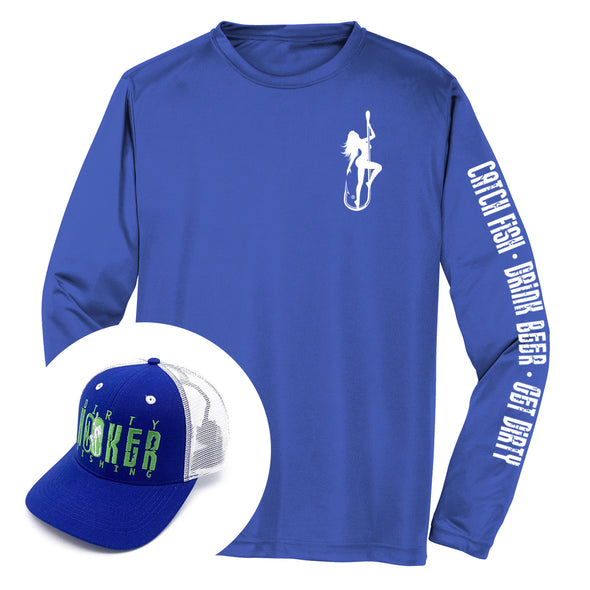 Dirty Hooker COMBO: Blue Dry Fit with DH Classic White & Deluxe Royal and White Hat