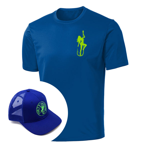 Dirty Hooker COMBO: Classic Green Short Sleeve Dry Fit & Premium Blue Hat