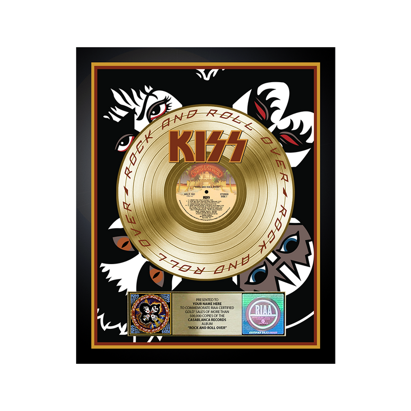 Personalized Rock and Roll Over Gold Record Award