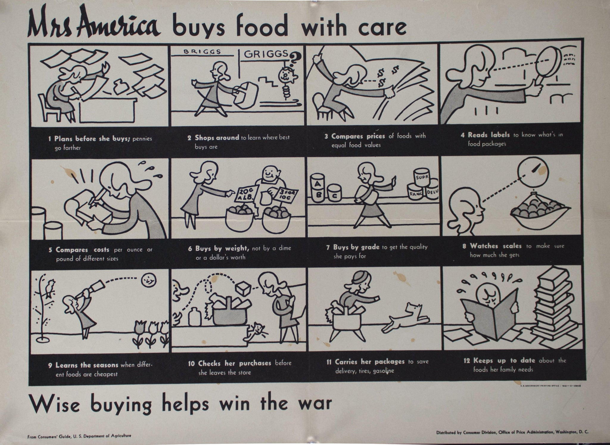1942 Mrs America Buys Food With Care - Wise Buying Helps Win the War