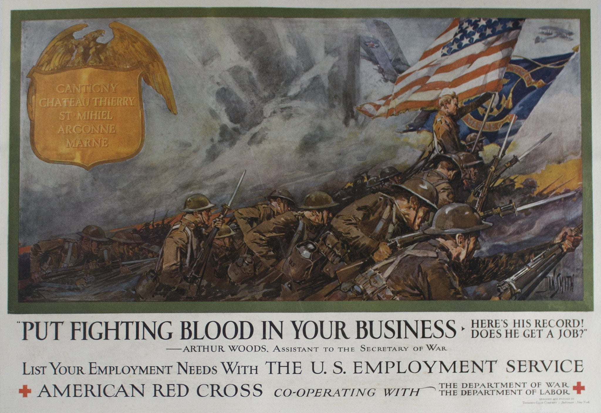 c. 1917 Put Fighting Blood in Your Business | American Red Cross by Dan Smith - Golden Age Posters