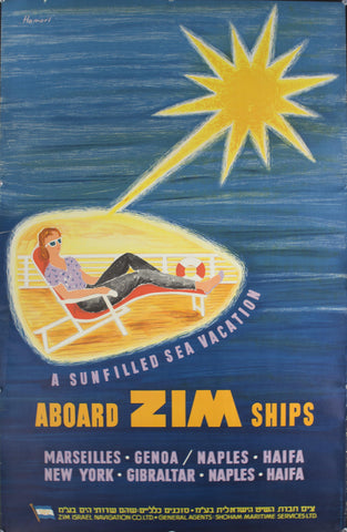 1959 A Sunfilled Sea Vacation Aboard ZIM Ships by Hamori