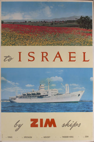 c. 1950s To Israel by ZIM Ships by Louis Macouillard