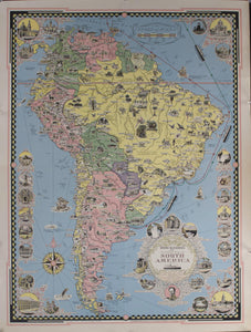 1942 Pictoral Map of South America