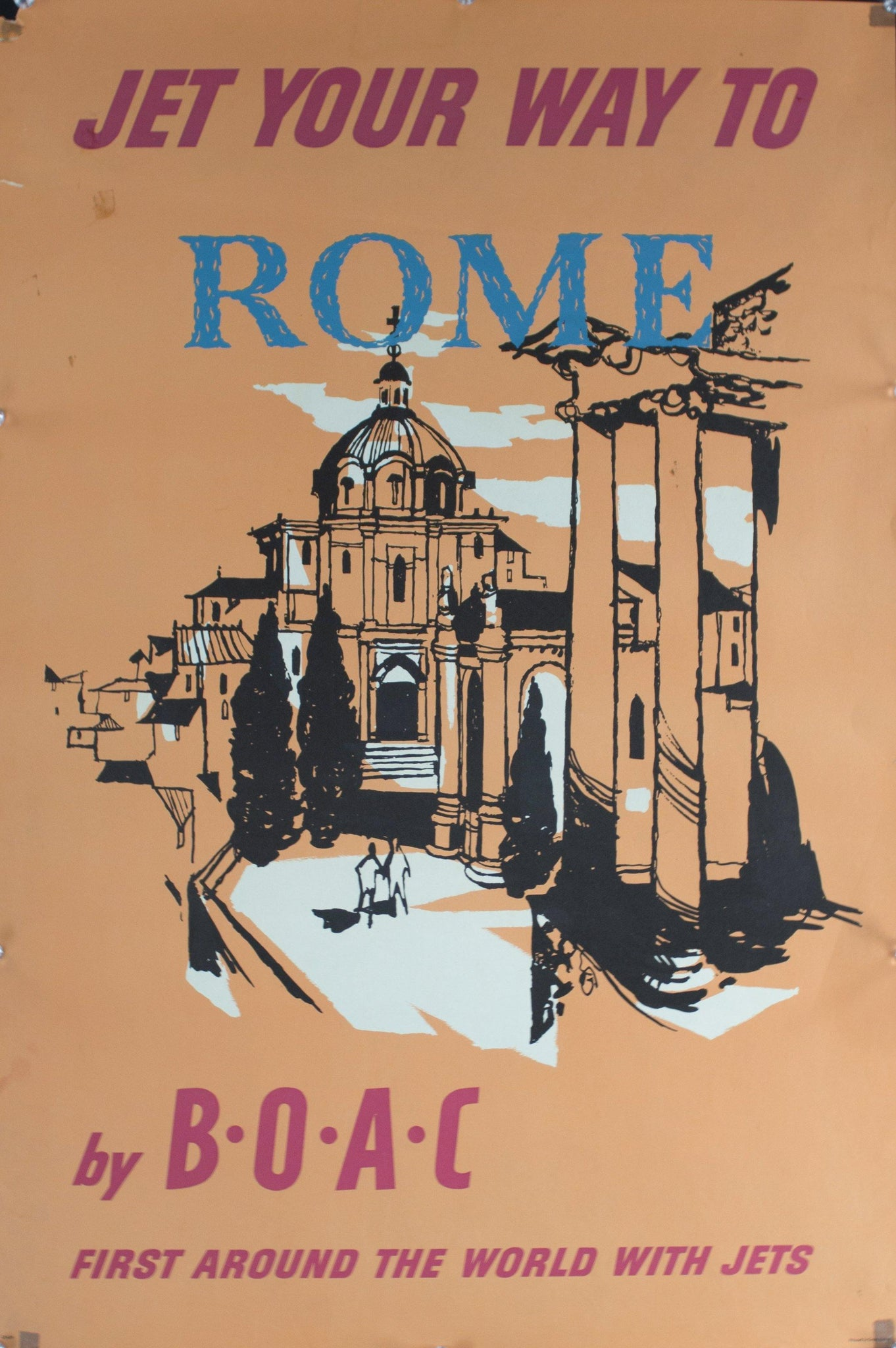c. 1950s Jet Your Way to Rome by BOAC | First Around the World with Jets