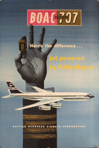 1959 Rolls-Royce BOAC 707 | Here's the difference…Jet Powered by Rolls-Royce - Golden Age Posters
