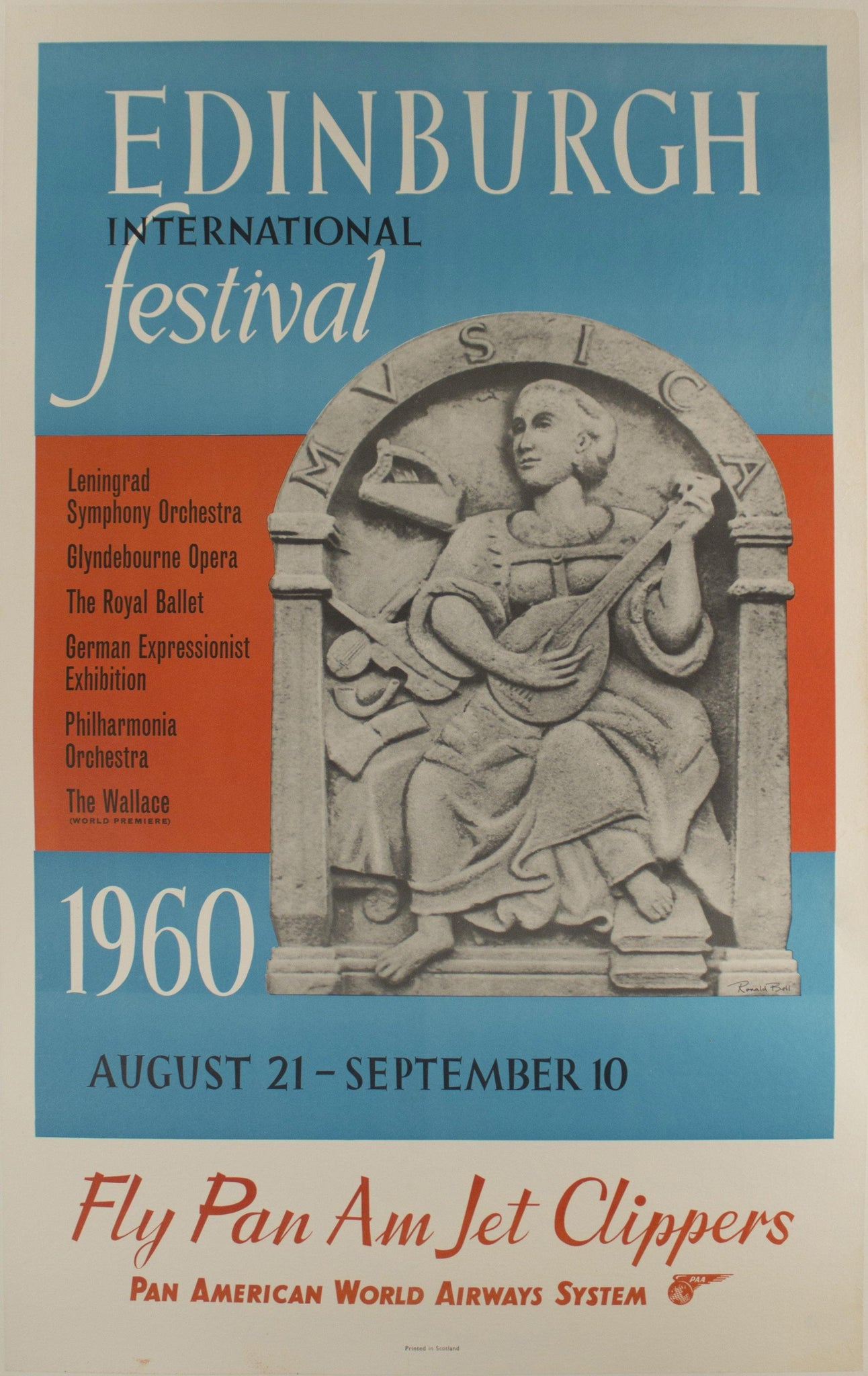 1960 Edinburgh International Festival by Ronald Bell - Golden Age Posters