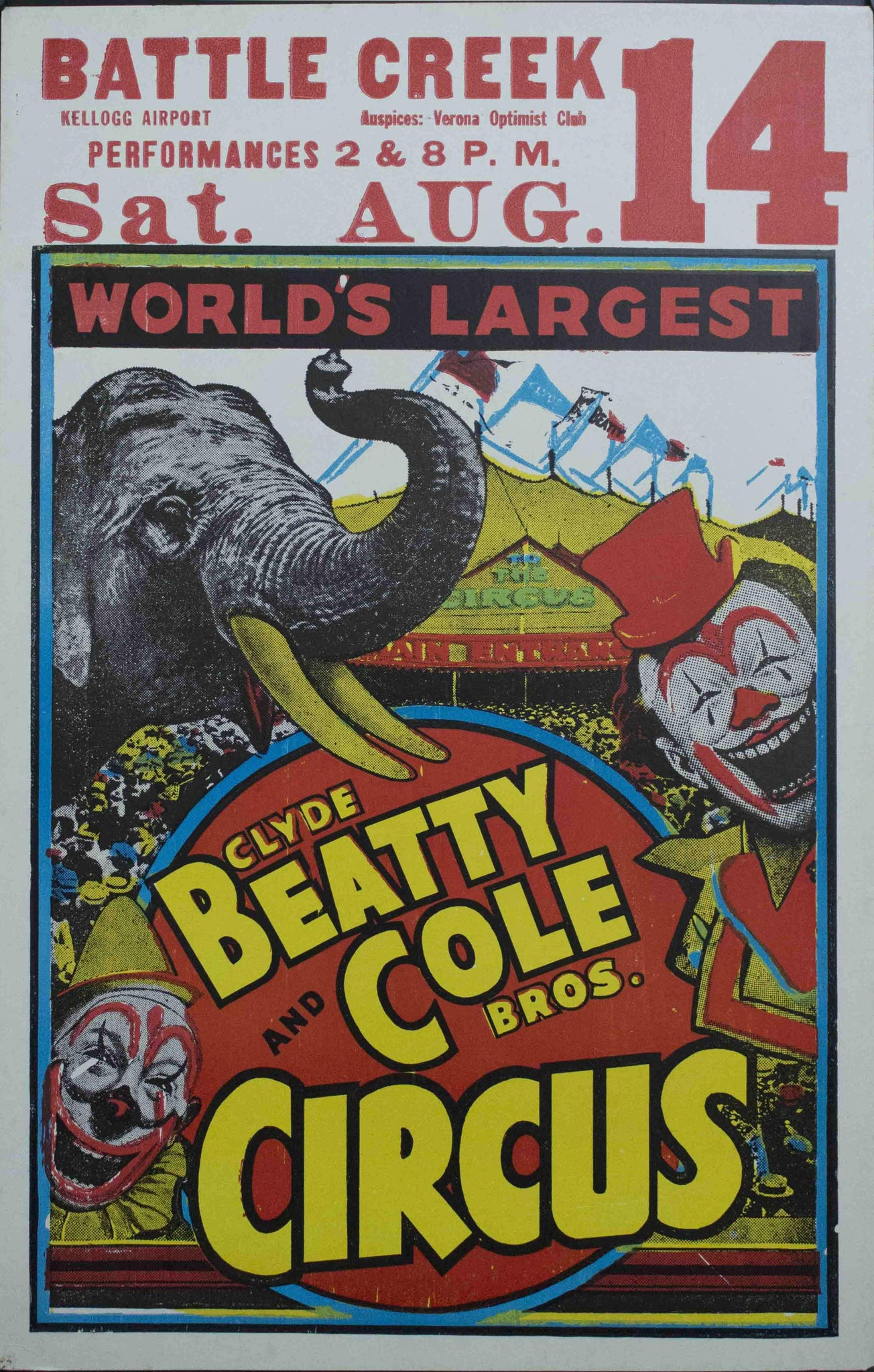 c. 1950 Clyde Beatty and Cole Bros Circus | World's Largest | Battle Creek Kellogg Airport