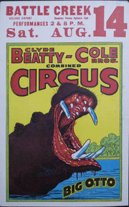 c. 1950 Clyde Beatty - Cole Bros Combined Circus | Big Otto | Battle Creek Kellogg Airport