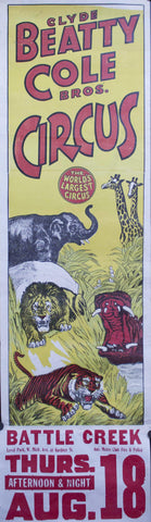 c. 1950 Clyde Beatty Cole Bros Circus | The World's Largest Circus | Level Park Animals