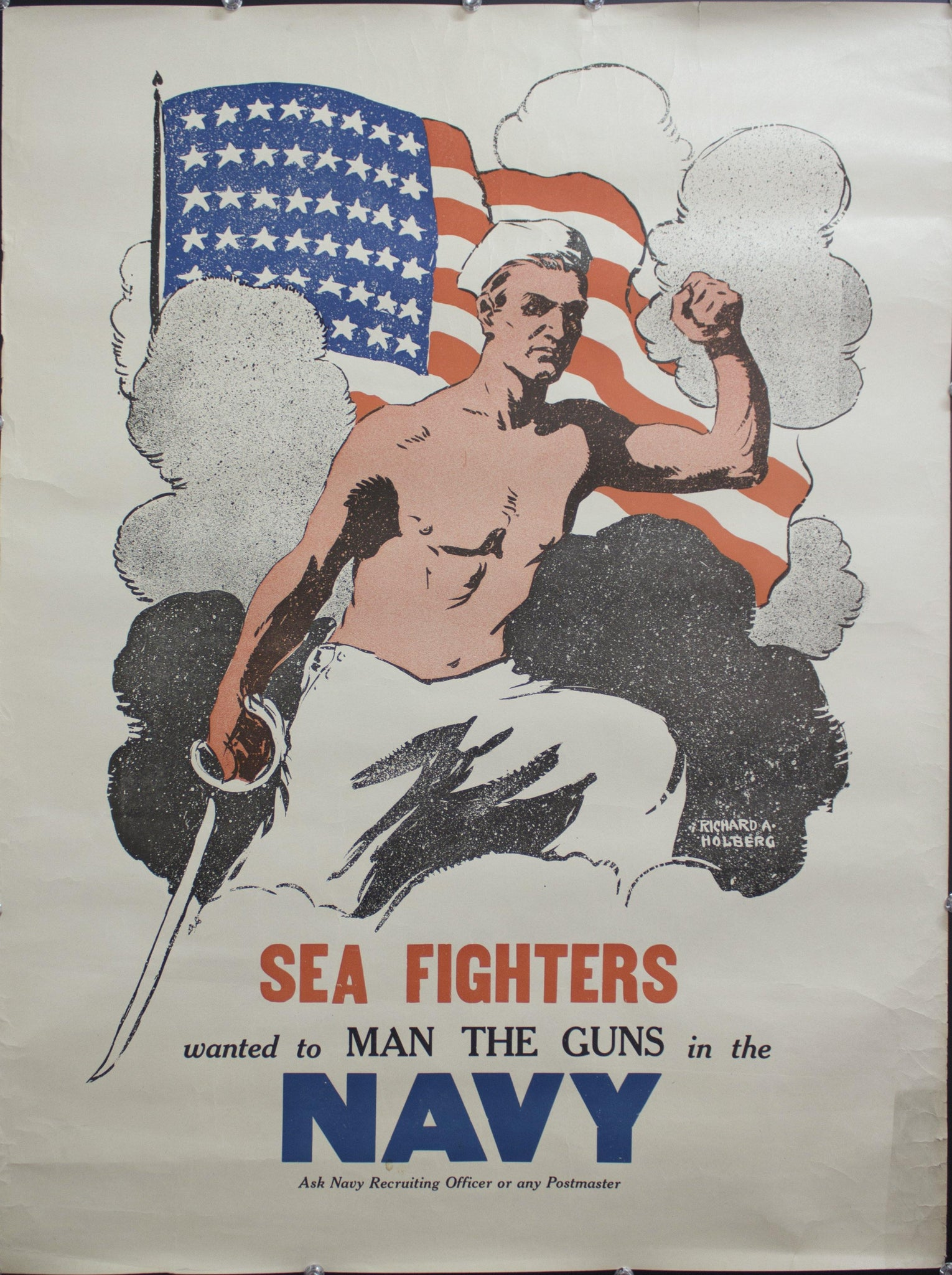 c. 1940s Sea Fighters wanted to Man The Guns in the Navy