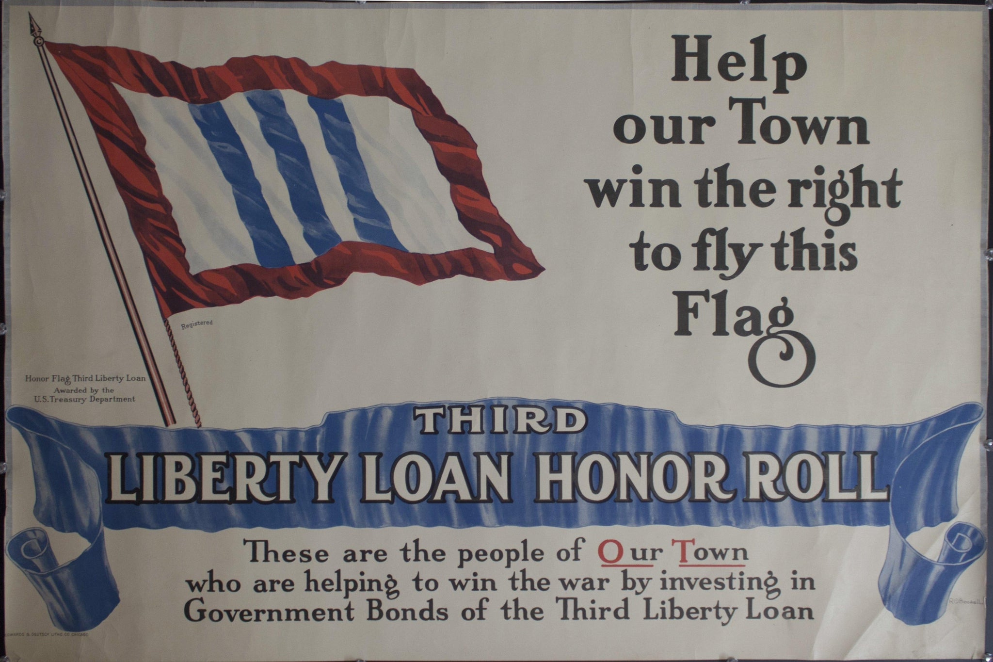 1917 Help our Town win the right to fly this Flag | Third Liberty Loan Honor Roll