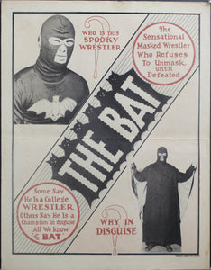 c. 1930 Who is this spooky wrestler? Why in disguise? The Bat