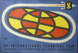 1959 IIIrd International Technical Fair | Belgrade - Yugoslavia | Sputnik - Golden Age Posters