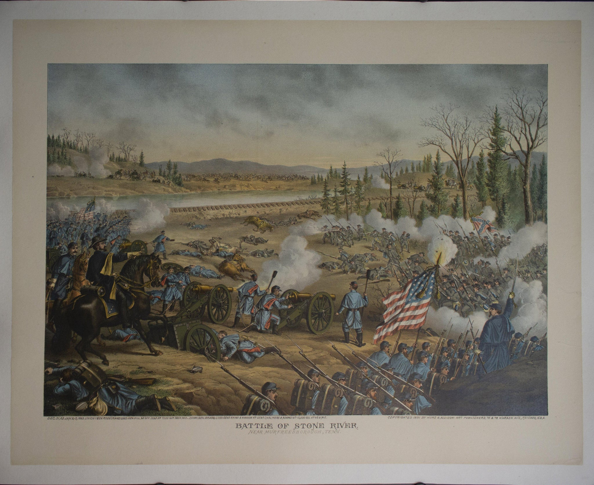 1891 Battle of Stone River Lithograph by Kurz & Allison