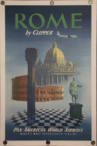 c. 1950s Rome by Clipper Pan American World Airways