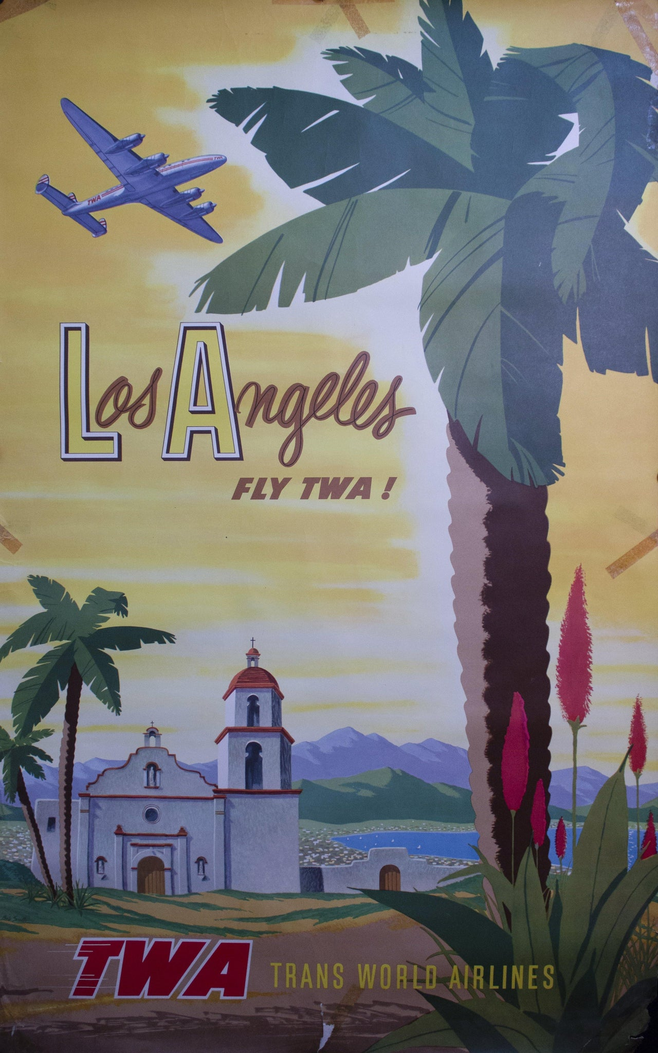 c. 1950s TWA Los Angeles by Bob Smith - Golden Age Posters