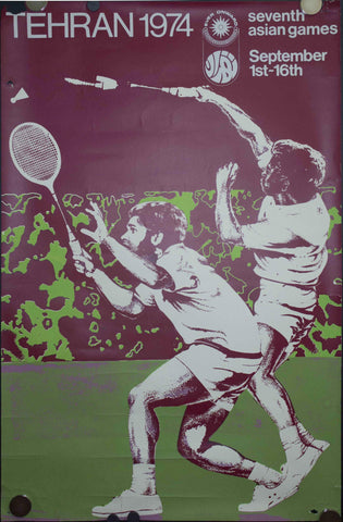 1974 Seventh Asian Games Poster Badminton Tehran Iran
