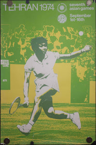 1974 Seventh Asian Games Poster Tennis Tehran Iran