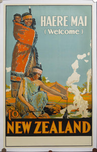 c.1920s Haere Mai Welcome To New Zealand Official Travel Poster W.A.G. Skinner Printer