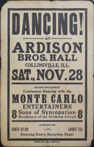 c. 1925 Dancing! at Ardison Bros. Hall with Sons of Syncopation
