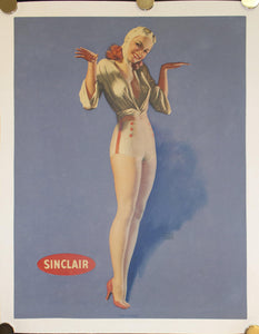 "c.1950s ""Air-Minded"" by Earl Moran Pinup Girl Advertising Sinclair Oil"