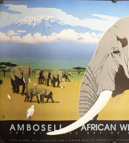 1988 Ambosell African Wildlife Foundation Art of Daniel Gilbert - Golden Age Posters