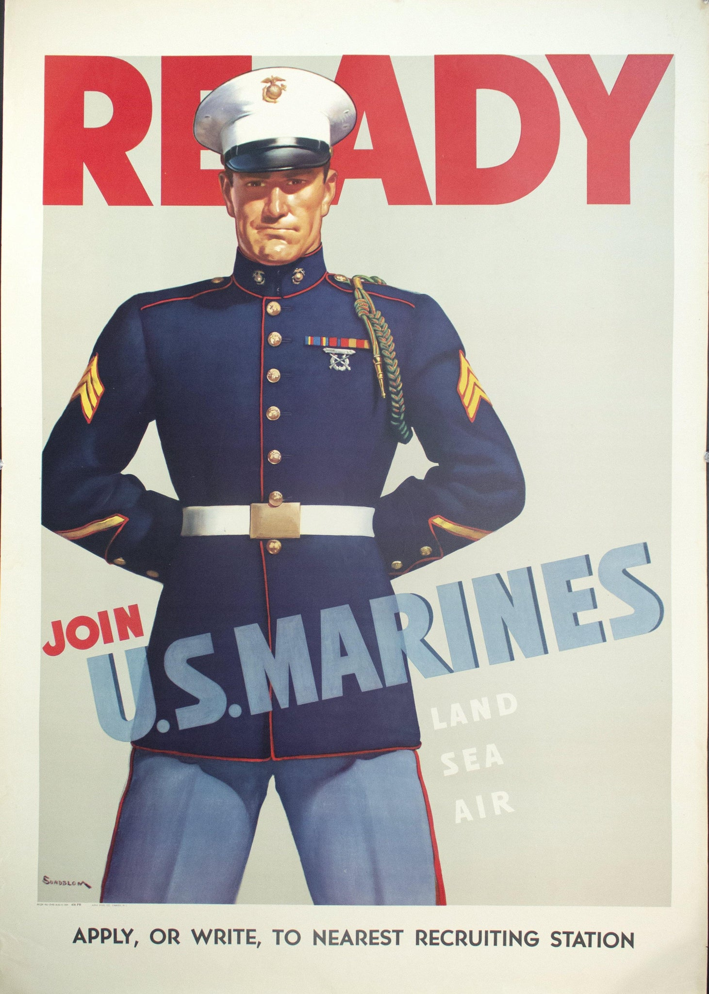 1942 Ready Join US Marines Recruitment by Sundblom