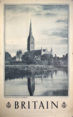 c. 1950 England The Cathedral Salisbury by A.F. Kersting