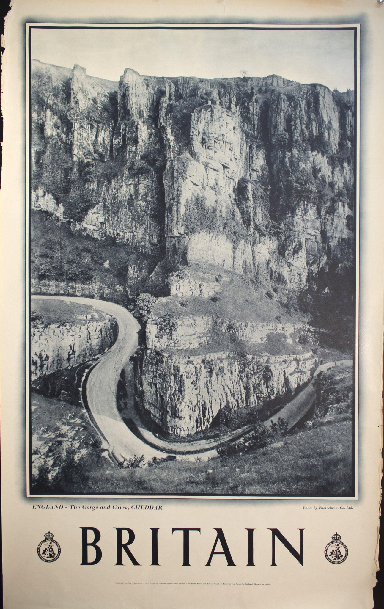 c. 1950 England The Gorge and Caves Cheddar
