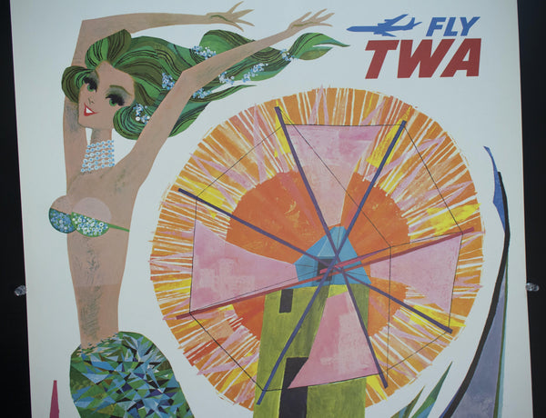 c. 1960 Portugal Fly TWA Mermaid by David Klein